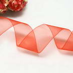 Ribbon, Sheer, Pinkish red, 2.5m x 2.5cm