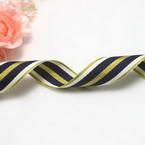 Grosgrain Ribbons, Polyester, Gold colour, blue, 92cm x 2.3cm