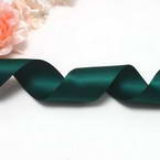 Double faced Colour Ribbons, Polyester, Dark teal, 1.84m x 2.5cm