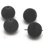 Beads, Rubberised beads, Acrylic, black, Spherical, Diameter 12mm, 9g, 10 Beads