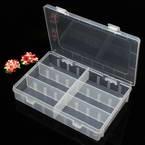 Storage box, Plastic, white, 19.5cm x 13cm x 3.5cm, 1 piece, 6 compartments