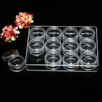 Storage box, Plastic, Colourless, 12.5cm x 9.5cm x 2cm, 1 piece, 12 compartments