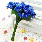 Mini Bouquet Flower Stamen - Speckled, Dark blue, 12 pieces, Long 9.5cm