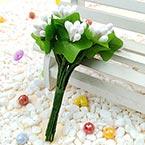 Mini Bouquet Flower Stamen - Pearlescent, white, 12 pieces, Long 9.5cm