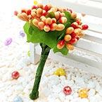 Mini Bouquet Flower Stamen - Pearlescent, orange, 12 pieces, Long 9.5cm
