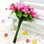 Mini Bouquet Flower Stamen - Pearlescent, Magenta, 12 pieces, Long 9.5cm