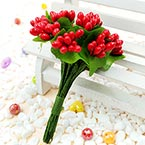 Mini Bouquet Flower Stamen - Pearlescent, Pinkish red, 12 pieces, Long 9.5cm