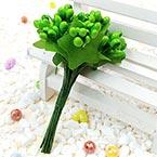 Mini Bouquet Flower Stamen - Pearlescent, green, 12 pieces, Long 9.5cm