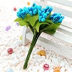 Mini Bouquet Flower Stamen - Pearlescent, blue, 12 pieces, Long 9.5cm