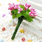 Mini Bouquet Flower Stamen - Pearlescent, pink, 12 pieces, Long 9.5cm