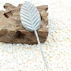 Rose leaf, Artificial fibers and wires, Silver colour, 11cm x 3cm (approximate), 10 pieces