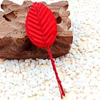 Rose leaf, Artificial fibers and wires, Pinkish red, 11cm x 3cm (approximate), 10 pieces