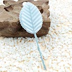 Rose leaf, Artificial fibers and wires, Light blue, 11cm x 3cm (approximate), 10 pieces