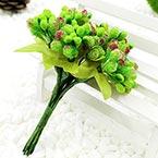 Mini Bouquet Flower Stamen - Big Glass Head, Bright green, 10 pieces, Long 9cm