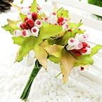 Mini Bouquet Flower Stamen - Big Glass Head, Pinkish red, 10 pieces, Long 9cm