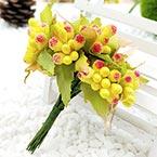 Mini Bouquet Flower Stamen - Big Glass Head, Yellow, 10 pieces, Long 9cm