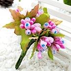 Mini Bouquet Flower Stamen - Big Glass Head, Magenta, 10 pieces, Long 9cm