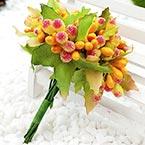 Mini Bouquet Flower Stamen - Big Glass Head, orange, 10 pieces, Long 9cm