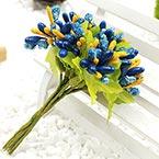 Mini Bouquet Flower Stamen - Small Glass Head, Dark blue, 10 pieces, Long 9cm