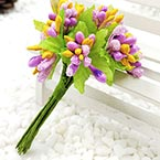 Mini Bouquet Flower Stamen - Small Glass Head, purple, 10 pieces, Long 9cm
