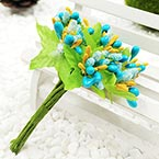 Mini Bouquet Flower Stamen - Small Glass Head, Teal, 10 pieces, Long 9cm