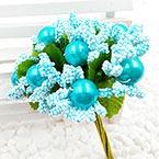 Mini Bouquet Flower Stamen - Imitation Pearl, Light blue, 10 pieces, Long 9cm