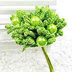 Mini Bouquet Flower Stamen - Imitation Pearl, Bright green, 10 pieces, Long 9cm