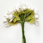 Mini Bouquet Flower Stamen - Imitation Pearl, white, 10 pieces, Long 9cm