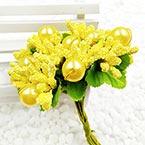 Mini Bouquet Flower Stamen - Imitation Pearl, Yellow, 10 pieces, Long 9cm