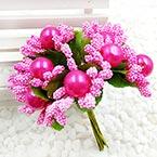 Mini Bouquet Flower Stamen - Imitation Pearl, Magenta, 10 pieces, Long 9cm
