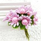Mini Bouquet Flower Stamen - Imitation Pearl, pink, 10 pieces, Long 9cm