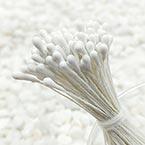 Matt bulb Stamens, white, Matt (not shiny), 120 pieces (approximate)