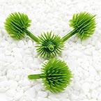Chrysanthemum flower stamen, Plastic, green, 2.5cm x 3.5cm, 5 pieces