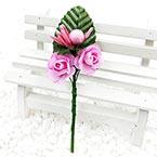 Floral embellishments, pink, 12cm x 4cm, 1 Flower