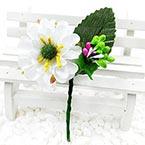 Floral embellishments, white, green, 12cm x 6cm, 1 Flower