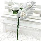 Floral embellishments, white, Silver colour, 11cm x 5cm, 1 Flower