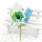 Floral embellishments, blue, white, 12.5cm x 5.5cm, 1 Flower
