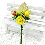 Floral embellishments, Yellow, Gold colour, 12cm x 4cm, 1 Flower