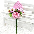 Floral embellishments, pink, 11cm x 4cm, 1 Flower