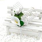 Floral embellishments, white, 13cm x 5.5cm, 1 Flower