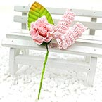 Floral embellishments, pink, green, 10.5cm x 5.8cm, 1 Flower