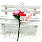 Floral embellishments, pink, Silver colour, 12cm x 5cm, 1 Flower
