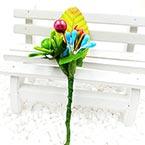 Floral embellishments, green, blue, 12cm x 4cm, 1 Flower