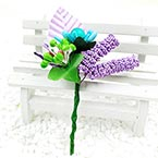 Floral embellishments, Light purple, green, 12cm x 6.5cm, 1 Flower