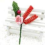 Floral embellishments, Burgandy, Dark green, 12.5cm x 6cm, 1 Flower