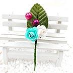 Floral embellishments, white, Light blue, 12.5cm x 3cm, 1 Flower