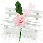 Floral embellishments, pink, Dark green, 12cm x 4cm, 1 Flower