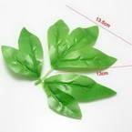 Peony leaf, Plastic, Bright green, 13.5cm x 13cm, 5 pieces