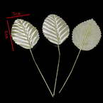 Rose leaf, Cloth and metal alloy, Yellow, 10cm x 3cm, 10 pieces