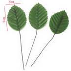 Rose leaf, Cloth and metal alloy, Dark green, 10cm x 3cm, 10 pieces